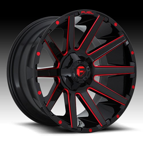 Fuel Contra D643 Gloss Black Candy Red Custom Wheels Rims 1
