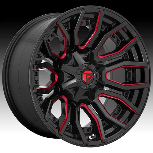 Fuel Rage D712 Gloss Black Milled Red Tint Custom Wheels Rims 1