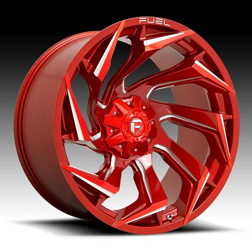Fuel Reaction D754 Candy Red Milled Custom Truck Wheels Rims 1