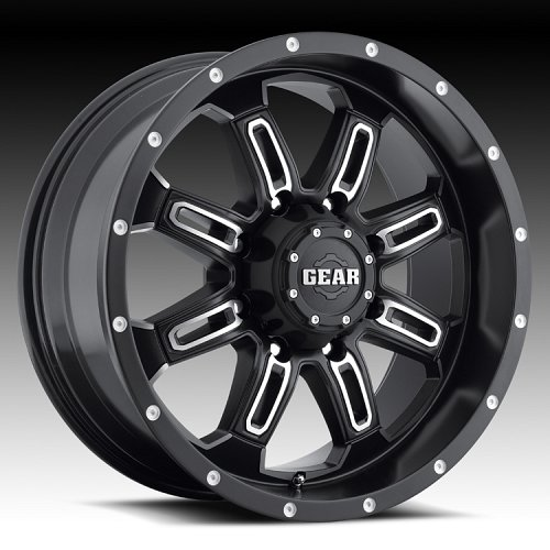 Gear Alloy 725MB Dominator 725 Satin Black Machined Custom Rims Wheels 1