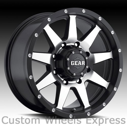 Gear Alloy 728MB Overdrive 728 Satin Black Machined Custom Rims Wheels 1