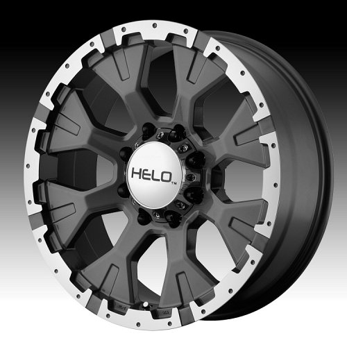 Helo HE878 Machined with Dark Silver Custom Rims Wheels 1