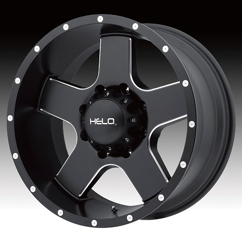 Helo HE886 Satin Black with Milled Accents Custom Wheels Rims 1