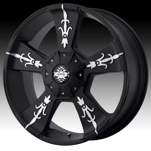 KMC Vandal KM668 668 Matte Black w/ Machined Custom Rims Wheels 1
