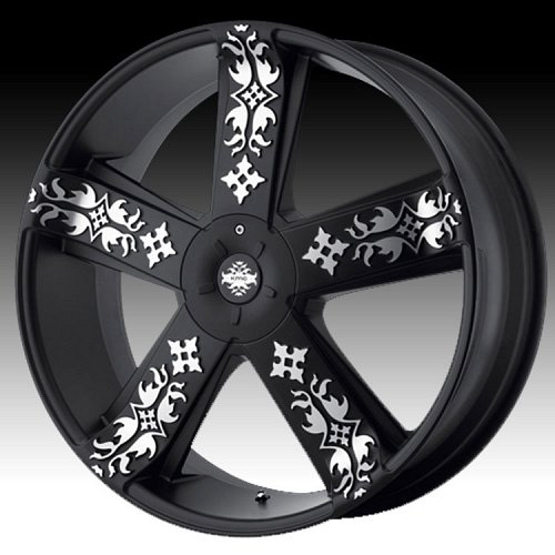 KMC Ink'd KM669 669 Matte Black w/ Machined Custom Rims Wheels 1