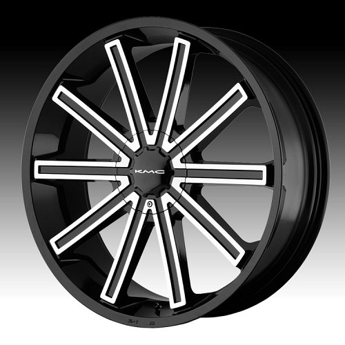 KMC KM681 Rebel Machined Black Custom Rims Wheels 1