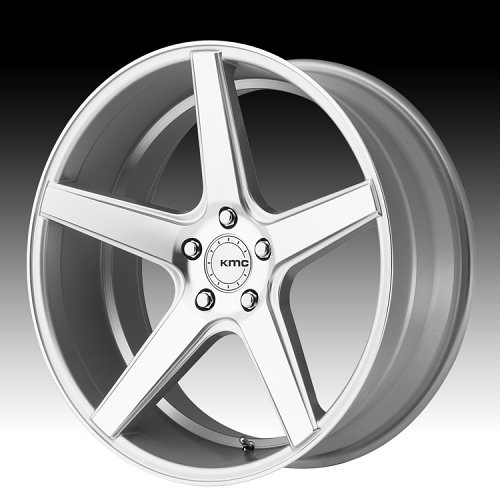 KMC KM685 District Machined Silver Custom Wheels Rims 1