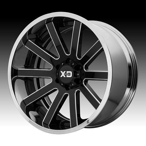 KMC XD Series XD200 Heist Black Milled / Chrome Custom Wheels Rims 1