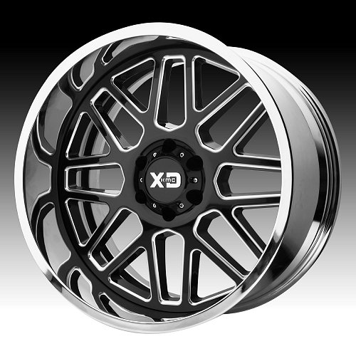KMC XD Series XD201 Grenade Black Milled / Chrome Custom Wheels Rims 1