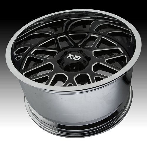 KMC XD Series XD201 Grenade Black Milled / Chrome Custom Wheels Rims 2