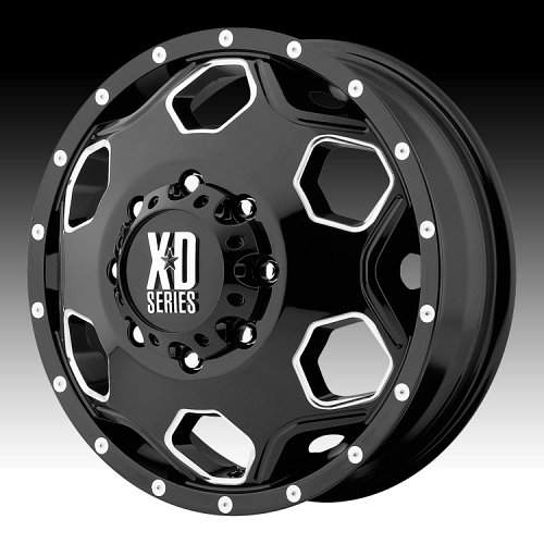 KMC XD Series XD815 Battalion Dually Black with Milled Accents Custom Wheels Rims 1