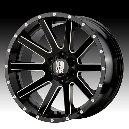 KMC XD Series XD818 Heist Gloss Black Milled Custom Wheels Rims 1