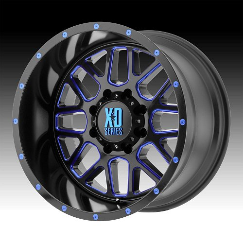 KMC XD Series XD820 Grenade Blue Black Milled Custom Wheels Rims
