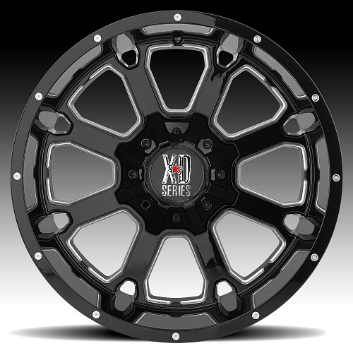 KMC XD Series XD825 Buck 25 Gloss Black Milled Custom Wheels Rims 2