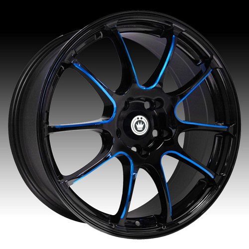Konig Illusion 24B IL Gloss Black w/ Blue Ball Cut Machine Custom Rims Wheels 1