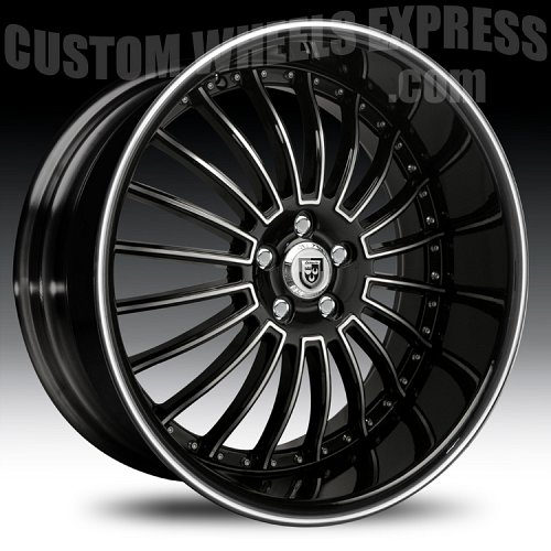 Lexani LSS-11 Gloss Black Machined w/ Machined Accent Custom Wheels Rims 1