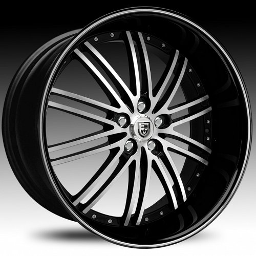 Lexani LSS-8 Gloss Black Machined w/ Machined Accent Custom Wheels Rims 1