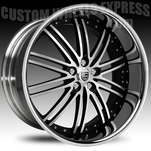 Lexani LSS-8 Gloss Black Machined w/ Stainless Steel Chrome Lip Custom Wheels Rims 1