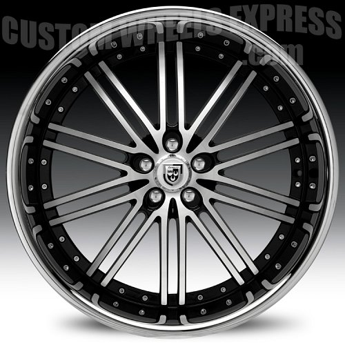 Lexani LSS-8 Gloss Black Machined w/ Stainless Steel Chrome Lip Custom Wheels Rims 2