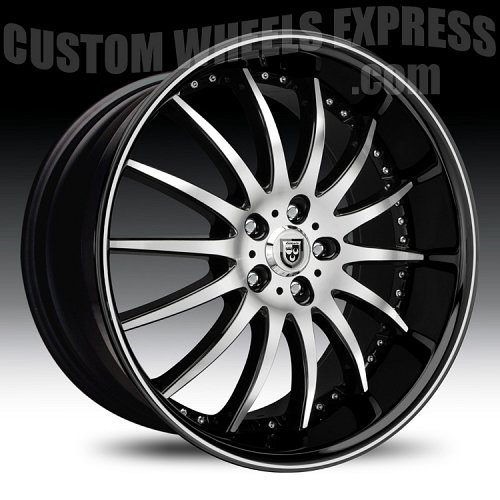 Lexani LX-14 Gloss Black Machined w/ Machined Accent Custom Wheels Rims 1