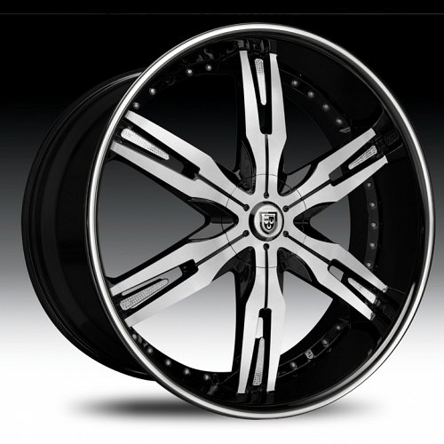 Lexani LX-30 Gloss Black Machined Black Lip Custom Wheels Rims 1