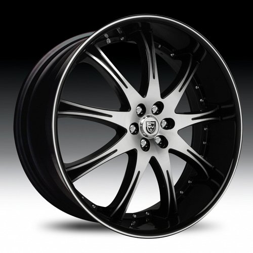 Lexani LX-9 Gloss Black Machined w/ Machined Accent Custom Wheels Rims 1