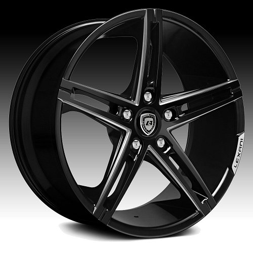 Lexani R-Three Gloss Black Milled Custom Wheels Rims 1