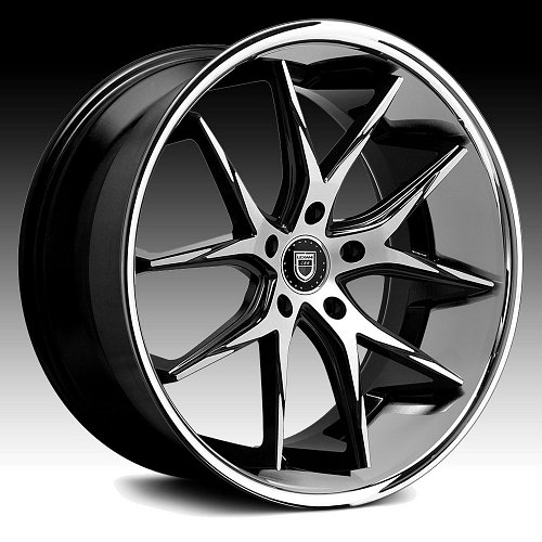Lexani R-Twelve Black Machined Chrome Lip Custom Wheels Rims 1