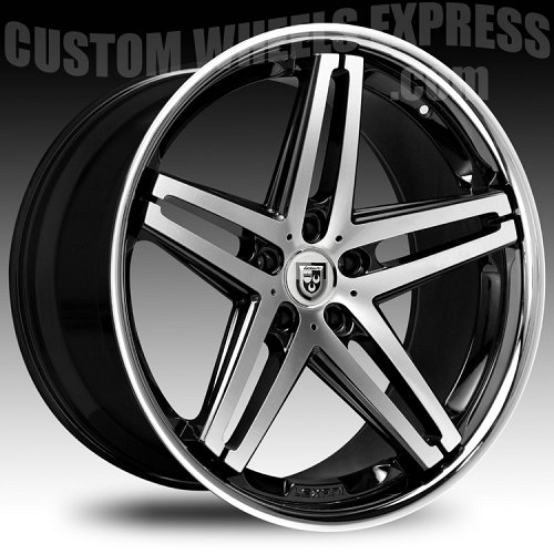 Lexani R-Five / R5 Black Machined w/ Stainless Steel Chrome Lip Custom Wheels Rims 1