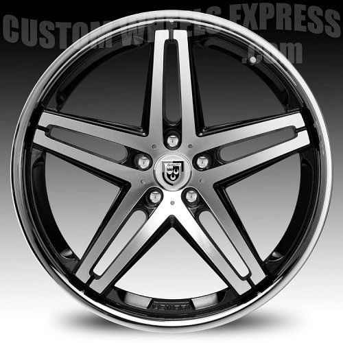 Lexani R-Five / R5 Black Machined w/ Stainless Steel Chrome Lip Custom Wheels Rims 2