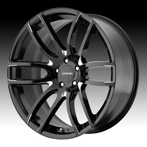 Lorenzo WL036 WL36 Gloss Black with Milled Accents Custom Rims Wheels 1
