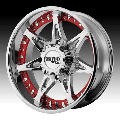 Moto Metal MO961 Chrome w/ Red and Chrome Inserts Custom Wheels Rims 1