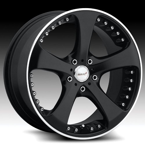 Maas 205MB 205 M205 Matte Black and Machined Custom Rims Wheels