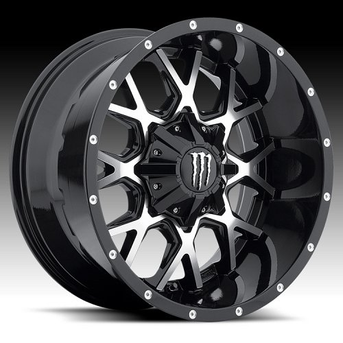 DropStars Monster Energy Edition 645MB Black Machined Custom Wheels Rims 1
