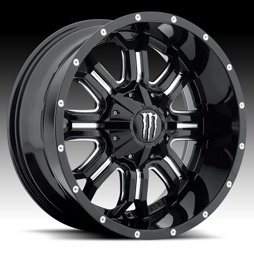TIS Monster Energy Edition Style 535BM Black Milled Custom Wheels Rims 1