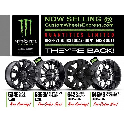 TIS Monster Energy Edition Style 535BM Black Milled Custom Wheels Rims 2