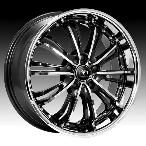 Motiv 402CB Mystique Gloss Black w/ Chrome Accents Custom Rims Wheels 1