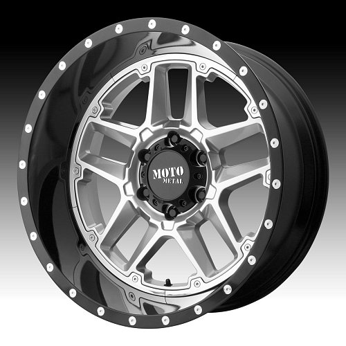 Moto Metal MO987 Sentry Silver Black Custom Wheels Rims 1