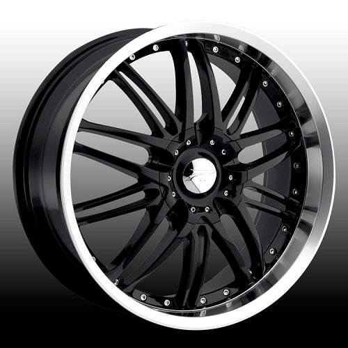 Platinum 200 Apex Gloss Black w/ Machined Lip Custom Rims Wheels 1