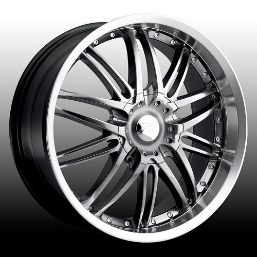Platinum 200 Apex Hyper Black w/ Machined Lip Custom Rims Wheels 1