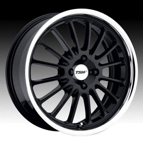 TSW Zolder 4 Gloss Black with Mirror Machined Cut Lip Custom Rims Wheels 1