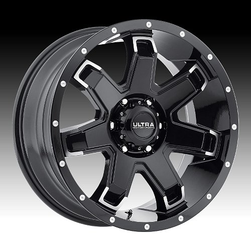 Ultra 209 Bent 7 Gloss Black Machined Custom Wheels Rims 1