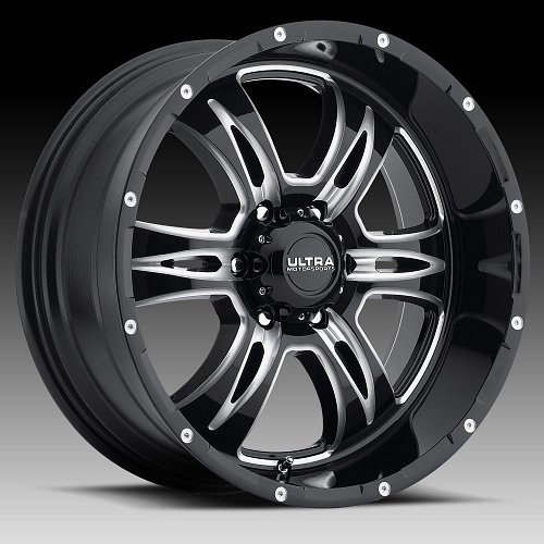 Ultra 249 Predator II Gloss Black Milled Custom Wheels Rims 1