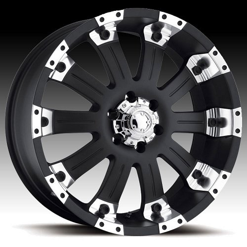 Ultra 227 / 228 Mammoth Matte Black w/ Diamond Machined Custom Rims Wheels 1