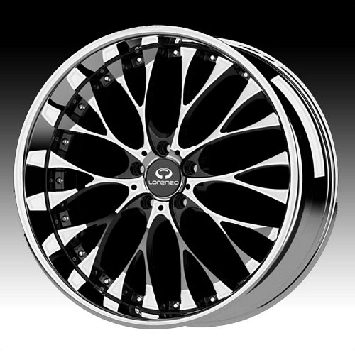 Lorenzo WL027 WL27 Chrome w/ Black Windows Custom Rims Wheels 1