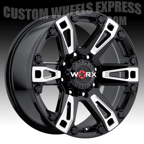 Worx Alloy 803 Beast Gloss Black with Milled Accents Custom Wheels Rims 2