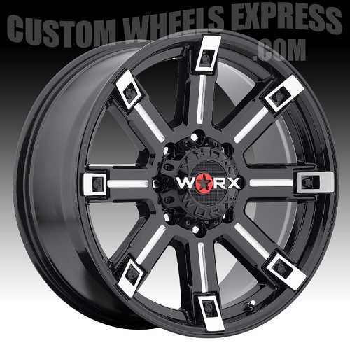 Worx Alloy 806 Triton Gloss Black with Milled Accents Custom Wheels Rims 2