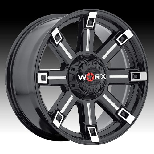 Worx Alloy 806 Triton Gloss Black with Milled Accents Custom Wheels Rims 1