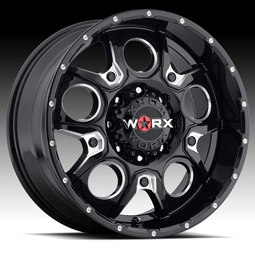 Worx Alloy 809 Rebel Gloss Black with Milled Accents Custom Wheels Rims 1