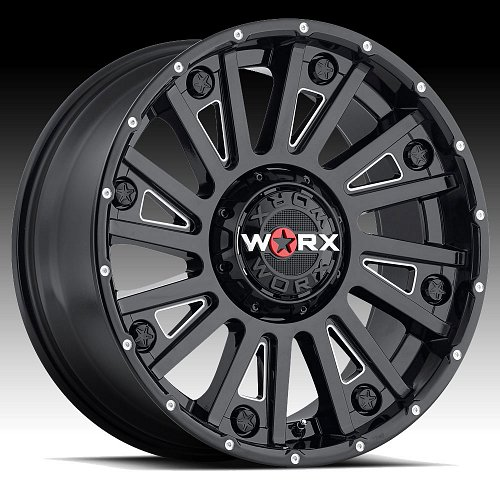 Worx Alloy 810 Sentry Gloss Black with Milled Accents Custom Wheels Rims 1